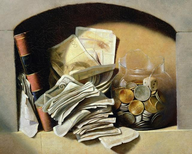 a-trompe-loeil-of-paper-money-coins-french-school